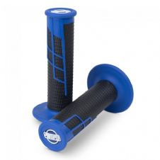 HANDLEBAR GRIP CLAMP ON HALF WAFFLE BLUE/BLACK